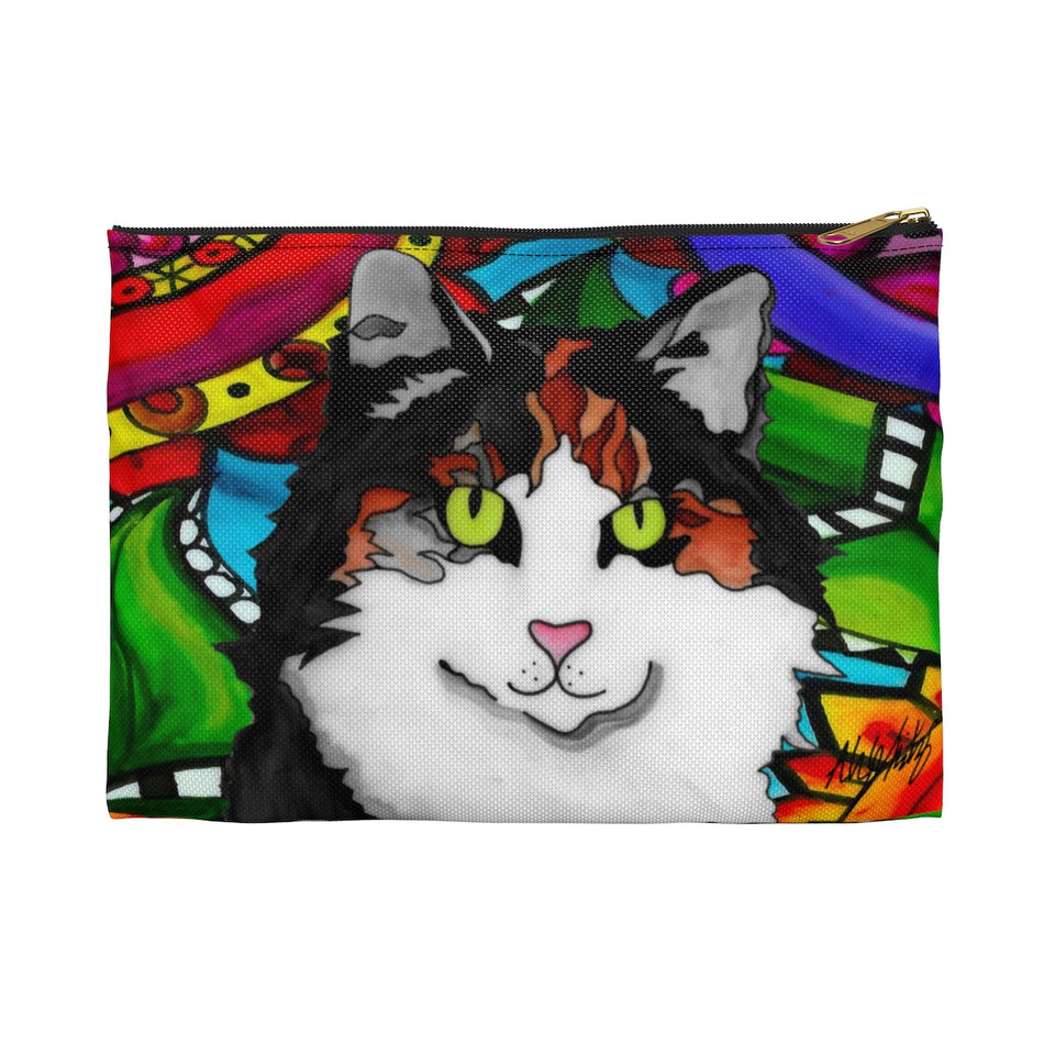 Calico Cat Zipper Pouch- BL