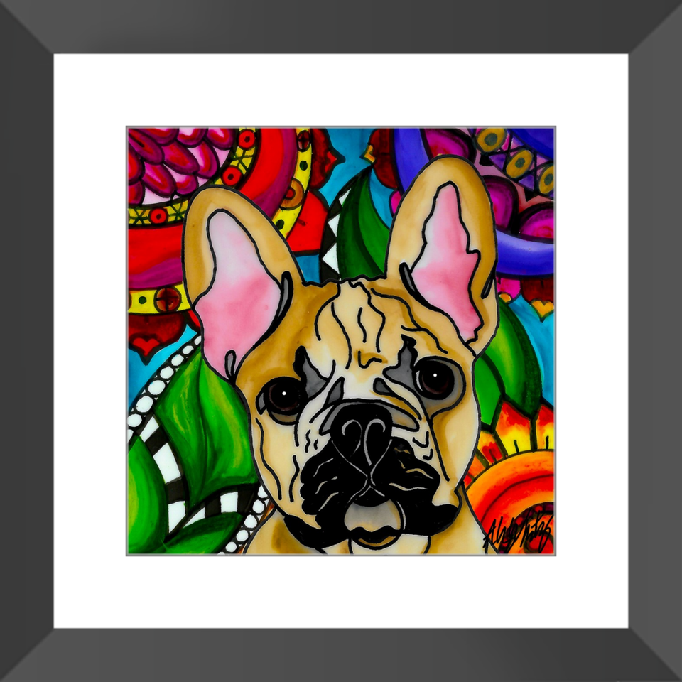 "French Bulldog Dog 12"" Framed Print - BL"
