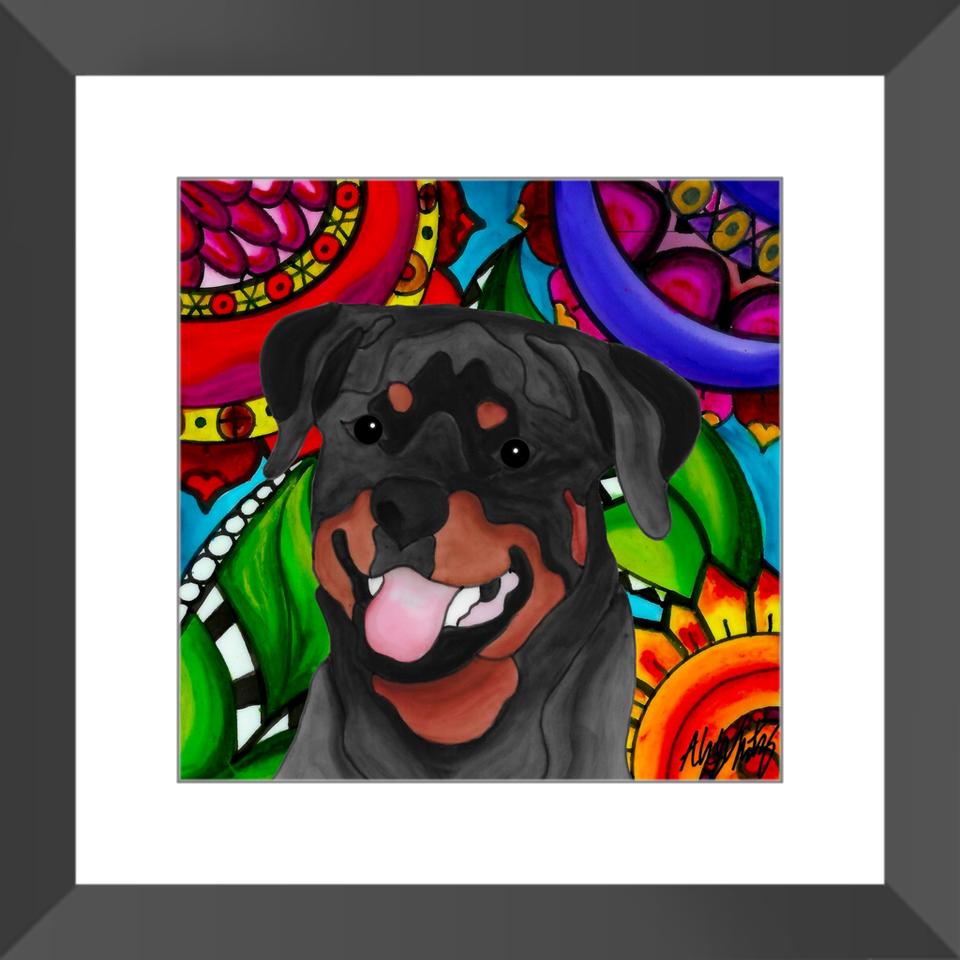 "Rottweiler Dog 12"" Framed Print - BL"