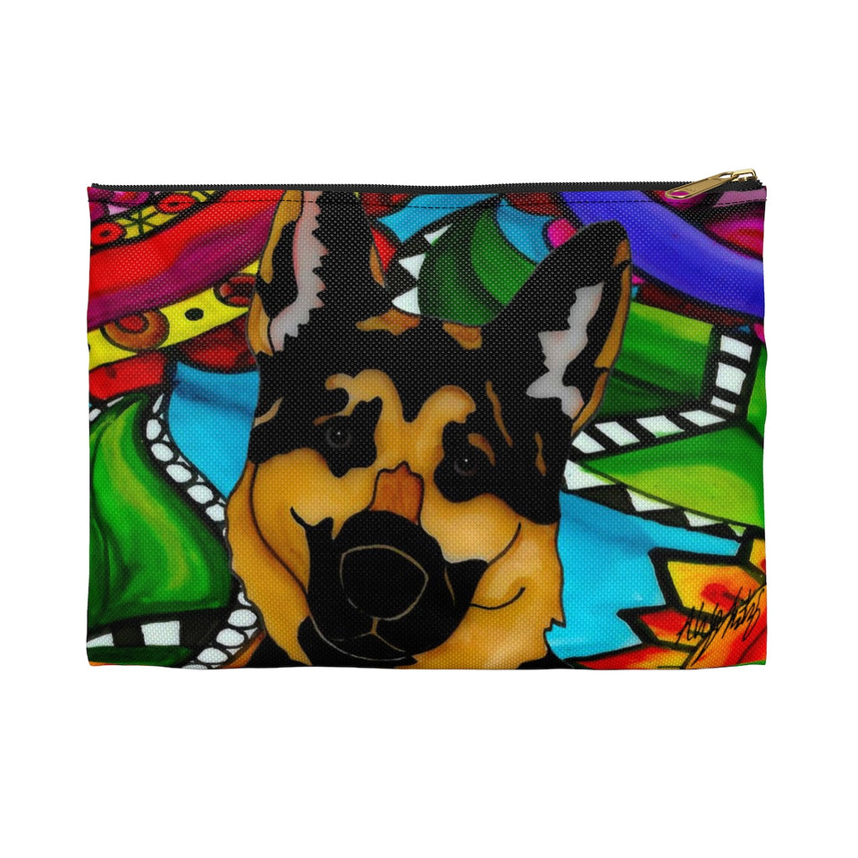 German Shepherd Dog Zipper Pouch- BL