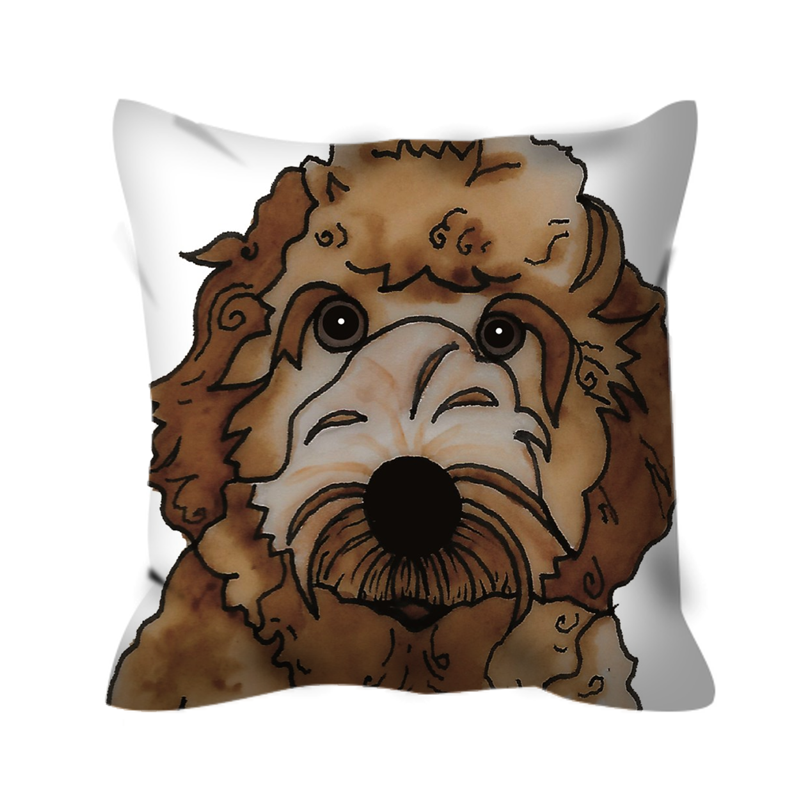 Stole My Heart Labradoodle Outdoor Pillow