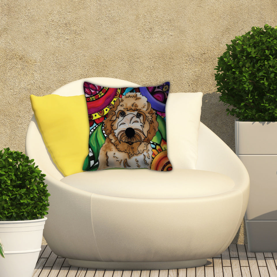 Labradoodle Dog Outdoor Pillow - BL