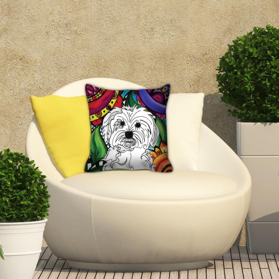 Maltese Dog Outdoor Pillow - BL