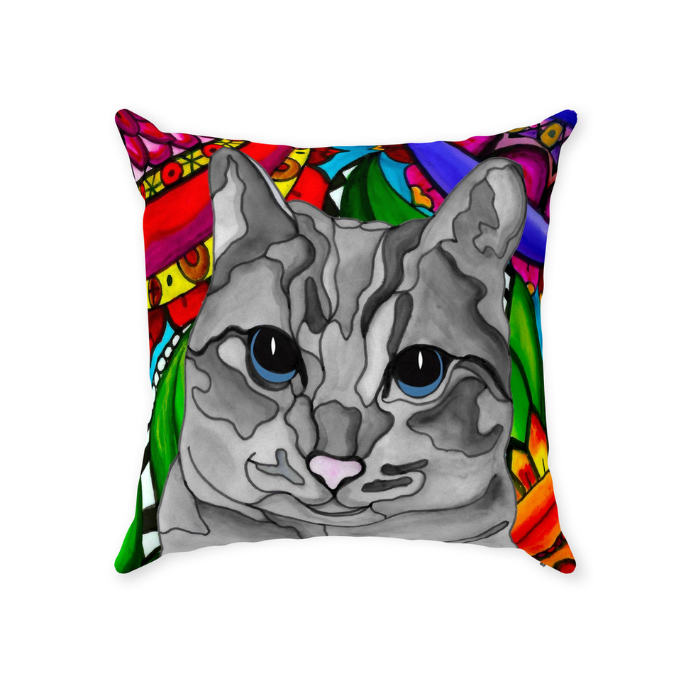 Gray Tabby Cat Indoor Pillow - BL