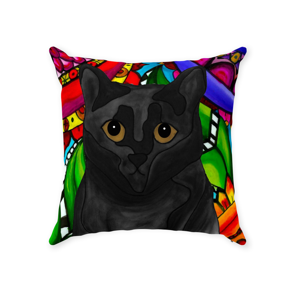 Black Cat Indoor Pillow - BL