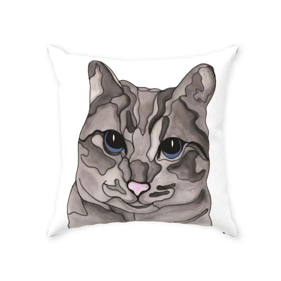 Gray Tabby Cat Indoor Pillow - SMH