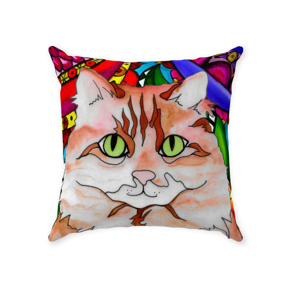 Orange & White Cat Indoor Pillow - BL