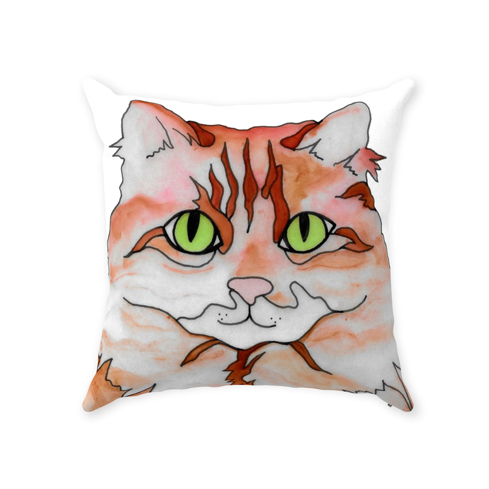 Orange & White Cat Indoor Pillow - SMH
