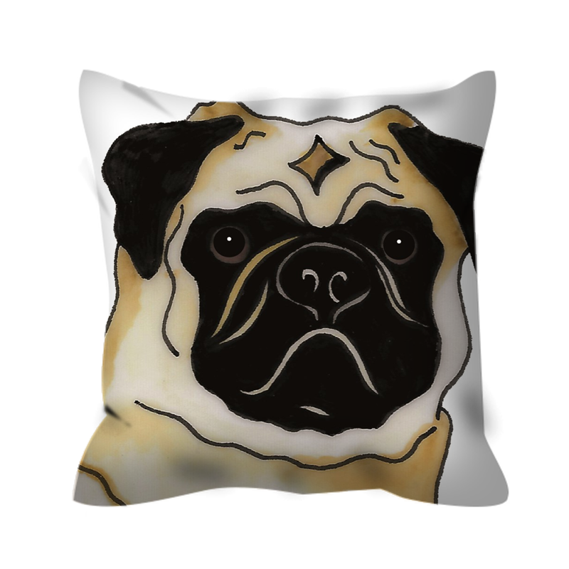 Stole My Heart Pug Outdoor Pillow