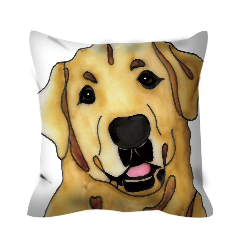 Stole My Heart Yellow Lab Outdoor Pillow