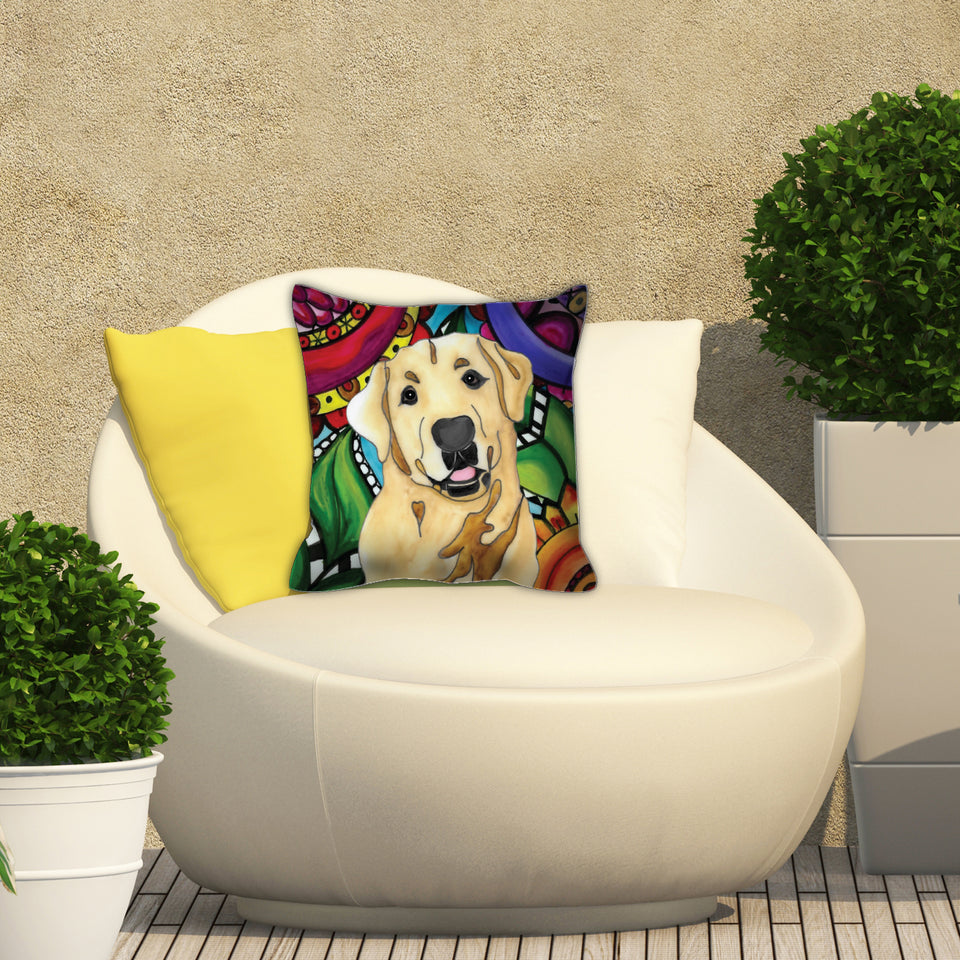 Yellow Lab Dog Outdoor Pillow - BL