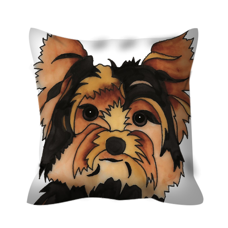 Stole My Heart Yorkie Outdoor Pillow