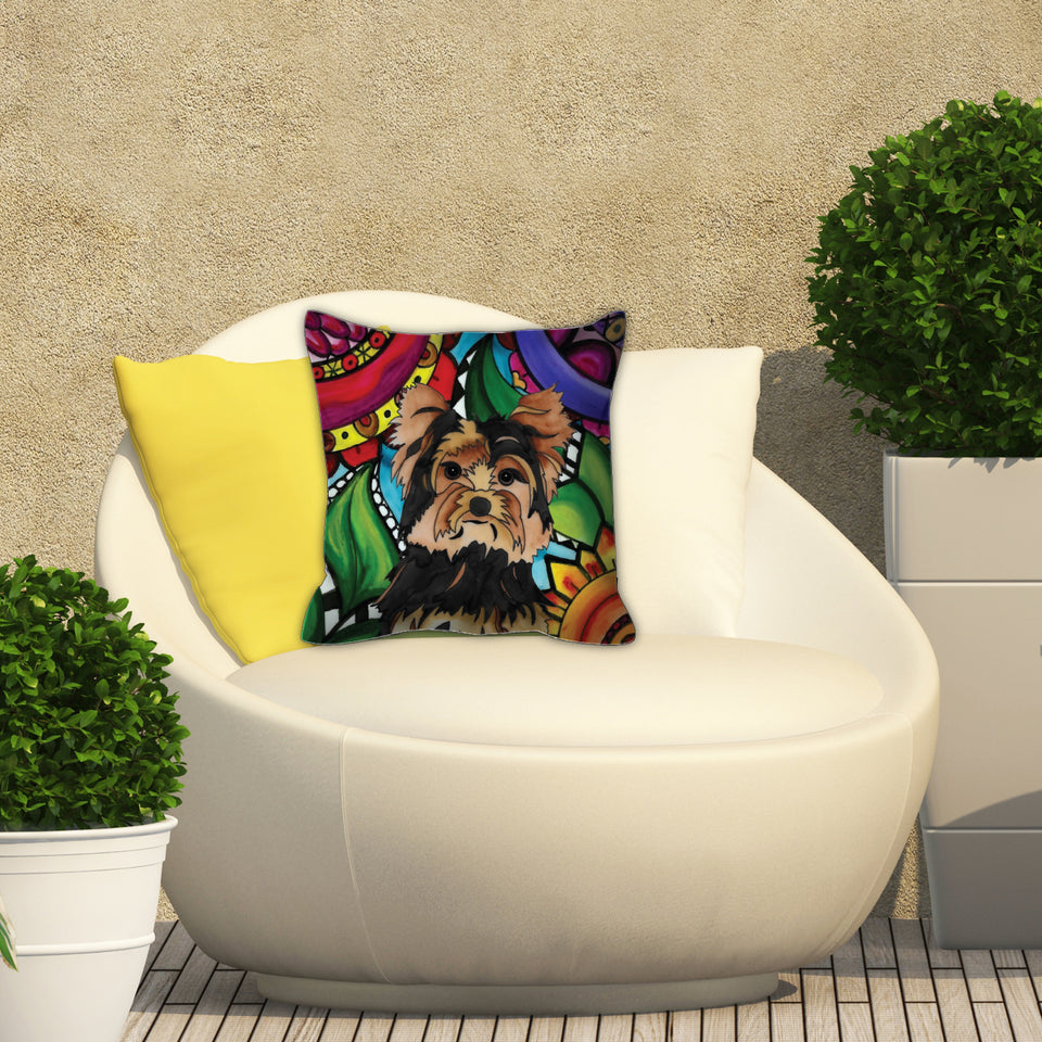 It's a Beautiful Yorkie Life Outdoor Pillow