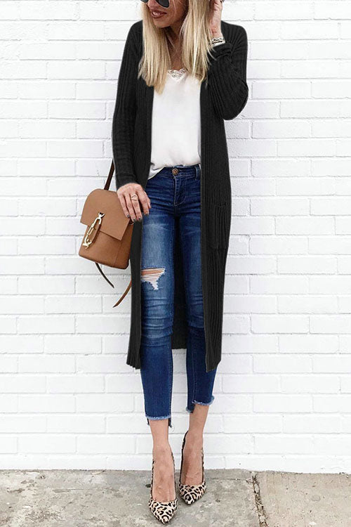 CielChic Ribbed Pocketed Long Cardigan(4 Colors)