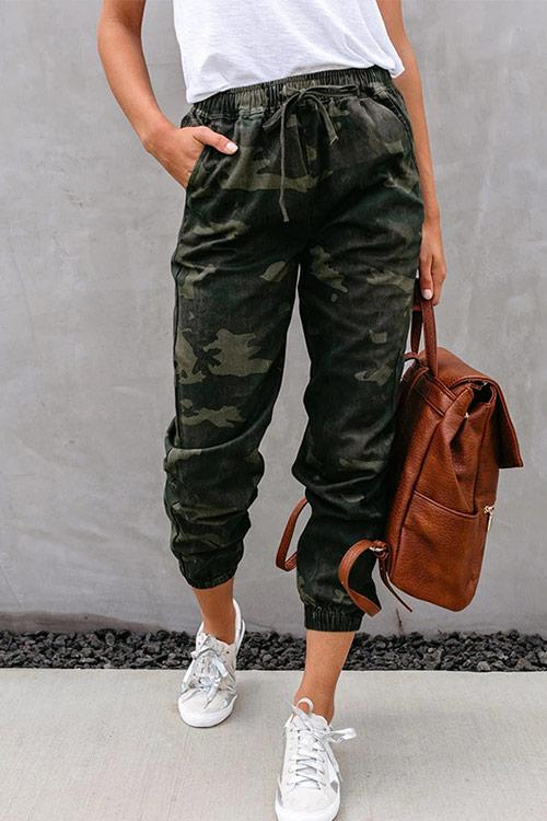 CielChic Belted Camo Tapered Pants-Pants-CielChic