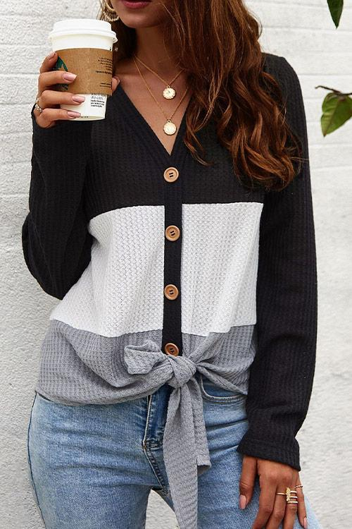 CielChic Button-Up Colorblock Knot Sweater(5 Colors)-Sweaters & Cardigans-CielChic