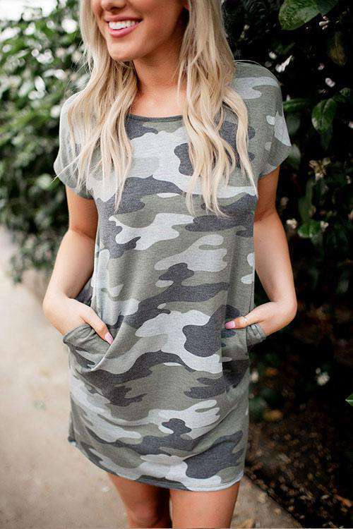 CielChic Camo T-Shirt Dress-T-Shirts-CielChic