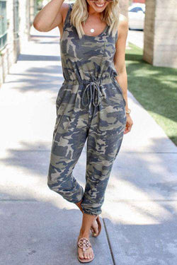 CielChic Camouflage Pocketed Jumpsuit-Jumpsuits-CielChic