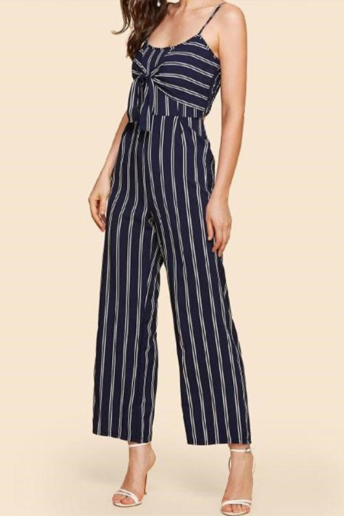 CielChic Casual Sling Sleeveless Stripe Dress(2 Colors)-Jumpsuits-CielChic