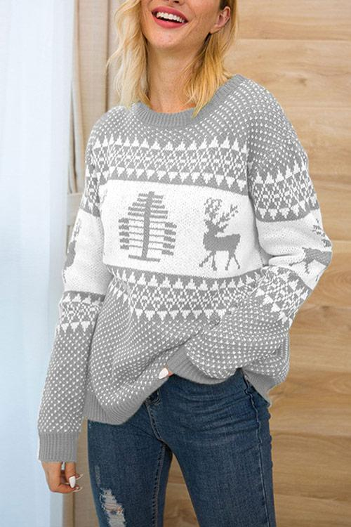 CielChic Christmas Print Knit Sweater(4 Colors)-Sweaters & Cardigans-CielChic
