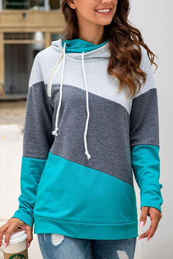 CielChic Colorblock Drawstring Hoodie(2 Colors)-Hoodies & Sweatshirts-CielChic