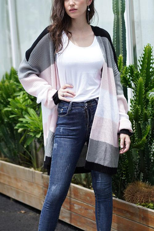 CielChic Colorblock Knit Cardigan(2 Colors)-Sweaters & Cardigans-CielChic