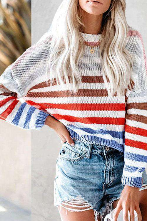 CielChic Cotton Striped Sweater-Sweaters & Cardigans-CielChic