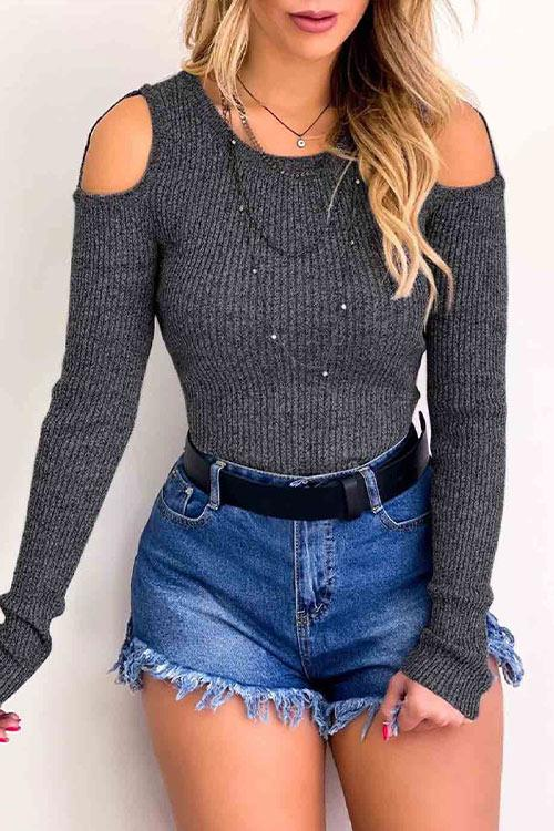 CielChic Cutout Shoudler Rib-Knit Top(2 Colors)-T-Shirts-CielChic