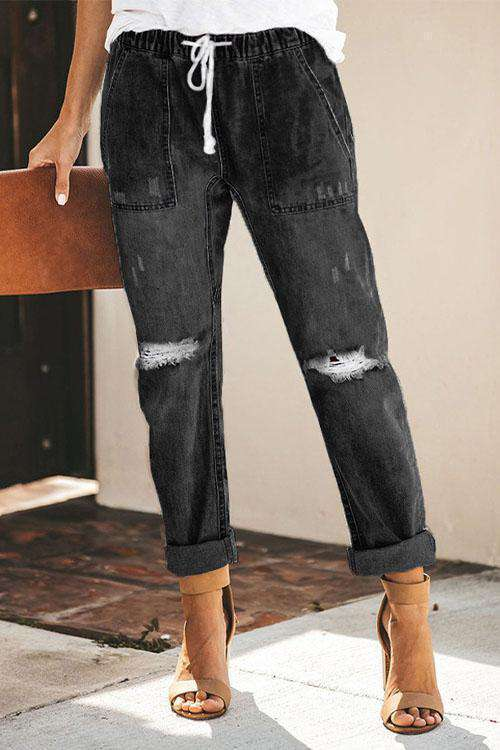 CielChic Distressed Pocketed Denim Joggers-Pants-CielChic