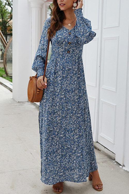 CielChic Ditsy Floral Button Maxi Dress(4 Colors)-Dress-CielChic