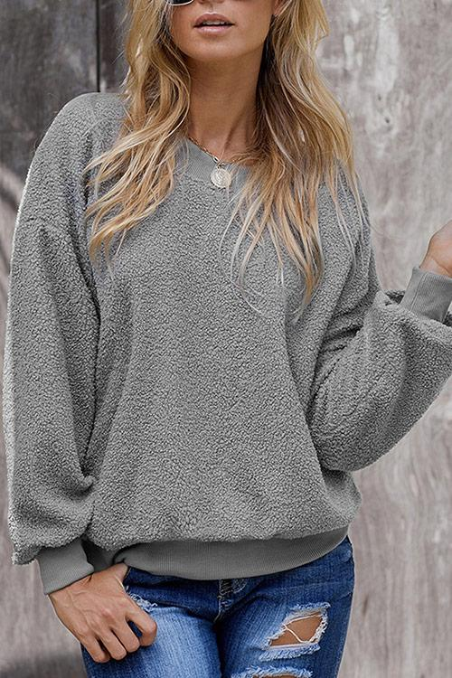 CielChic Faux Fur Plain Pullover(5 Colors)-Hoodies & Sweatshirts-CielChic