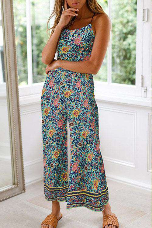 CielChic Floral Backless Jumpsuit(3 Colors)-Jumpsuits-CielChic