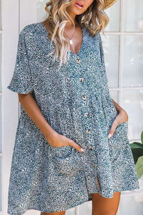 CielChic Floral Button Down Dress (2 Colors)-Dress-CielChic