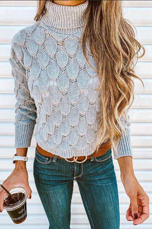 CielChic Hollow-out Turtleneck Pullover-Sweaters & Cardigans-CielChic