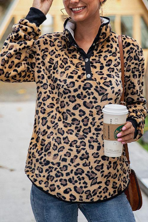 CielChic Leopard Button Pullover(2 Colors)-Hoodies & Sweatshirts-CielChic