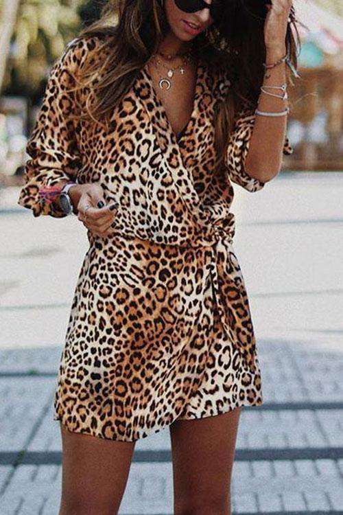 CielChic Leopard V-Neck Irregular Dress-Dress-CielChic