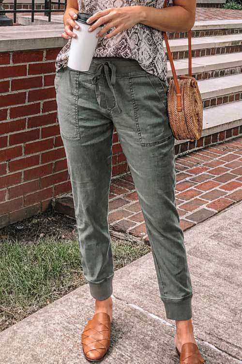 CielChic Olive Drawstring Pocketed Joggers-Pants-CielChic