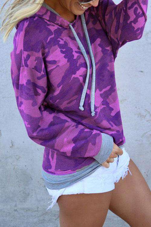 CielChic Long Sleeve Camouflage Hoodie(3 Colors)-Hoodies & Sweatshirts-CielChic