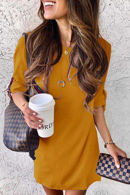 CielChic O-Neck Half Sleeve Casual Dress(6 Colors)-Dress-CielChic