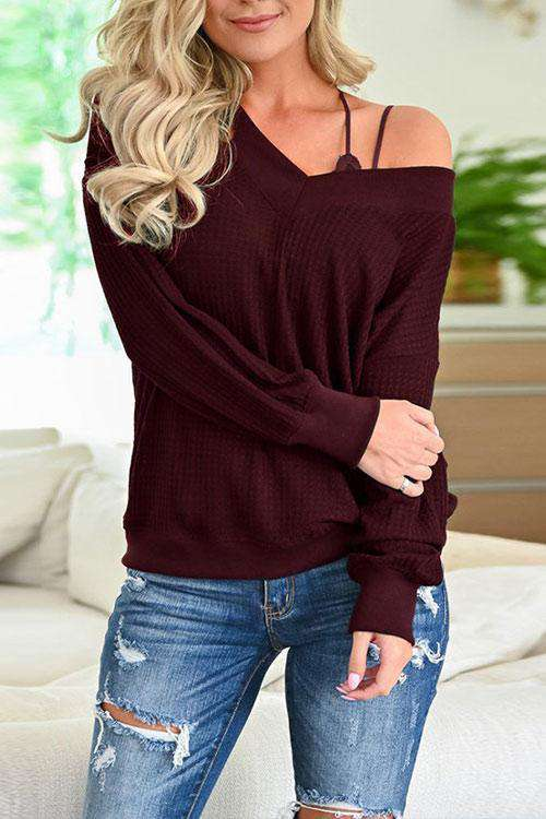 CielChic Off the Shoulder Knit Top(5 Colors)-T-Shirts-CielChic