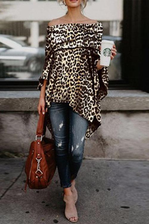 CielChic Off The Shoulder Leopard Shirt-Blouses & Shirts-CielChic