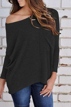 CielChic One Shoulder Long Sleeve Top(5 Colors)-Sweaters & Cardigans-CielChic