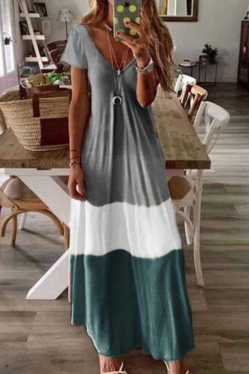 CielChic Overturn Color Block Maxi Dress(5 Colors)-Dress-CielChic