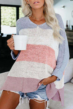 CielChic Overturn Color Stripes Sweater(2 Colors)-Hoodies & Sweatshirts-CielChic