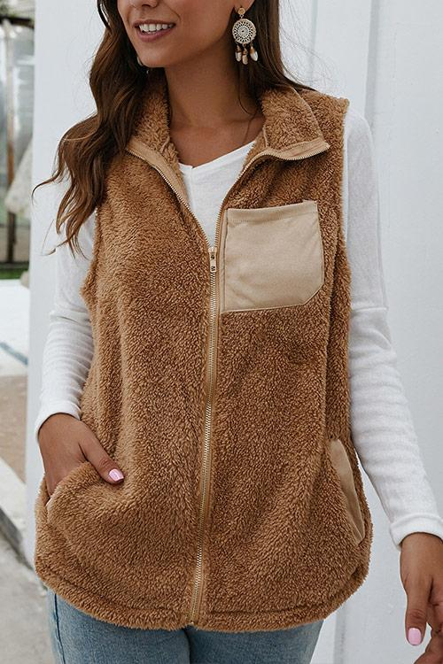 CielChic Plush Pocketed Zip-Up Vest(4 Colors)-Coats & Jackets-CielChic