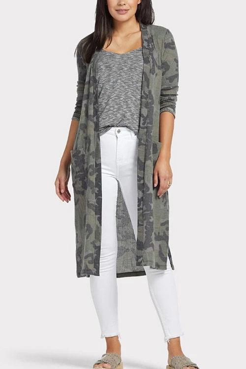 CielChic Pocketed Camo Cardigan-Sweaters & Cardigans-CielChic