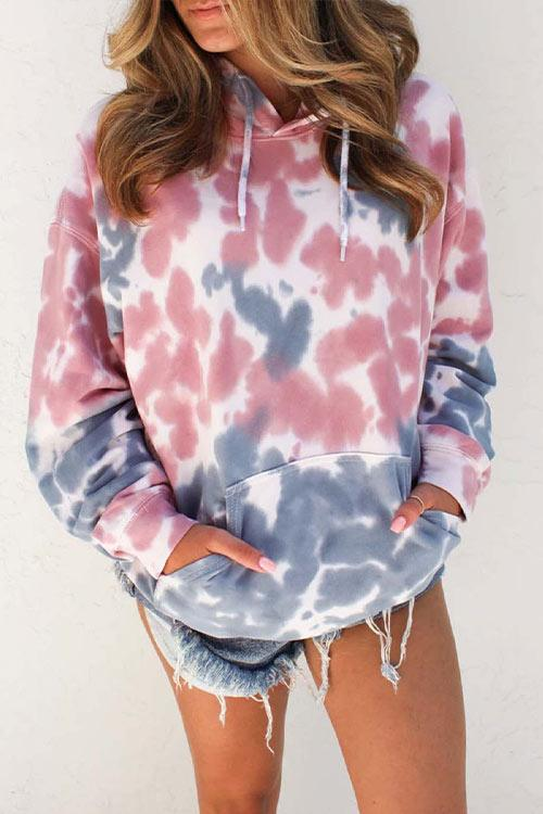 CielChic Printed Pocket Long Sleeve Hoodie-Hoodies & Sweatshirts-CielChic