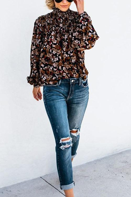 CielChic Puff Sleeves Floral Blouse(4 Colors)-Blouses & Shirts-CielChic