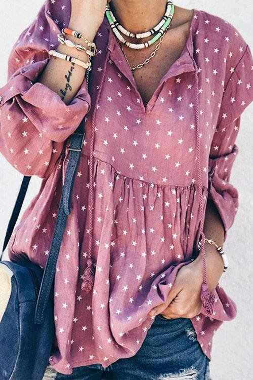 CielChic Ruffled Star Print Drawstring Blouse(4 Colors)-Blouses & Shirts-CielChic