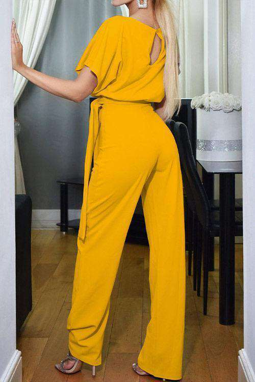 CielChic Short Sleeve Solid Casual Jumpsuit(7 Colors)-Jumpsuits-CielChic